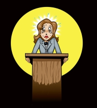sweating-woman-at-podium