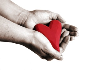 holding a red heart in hands